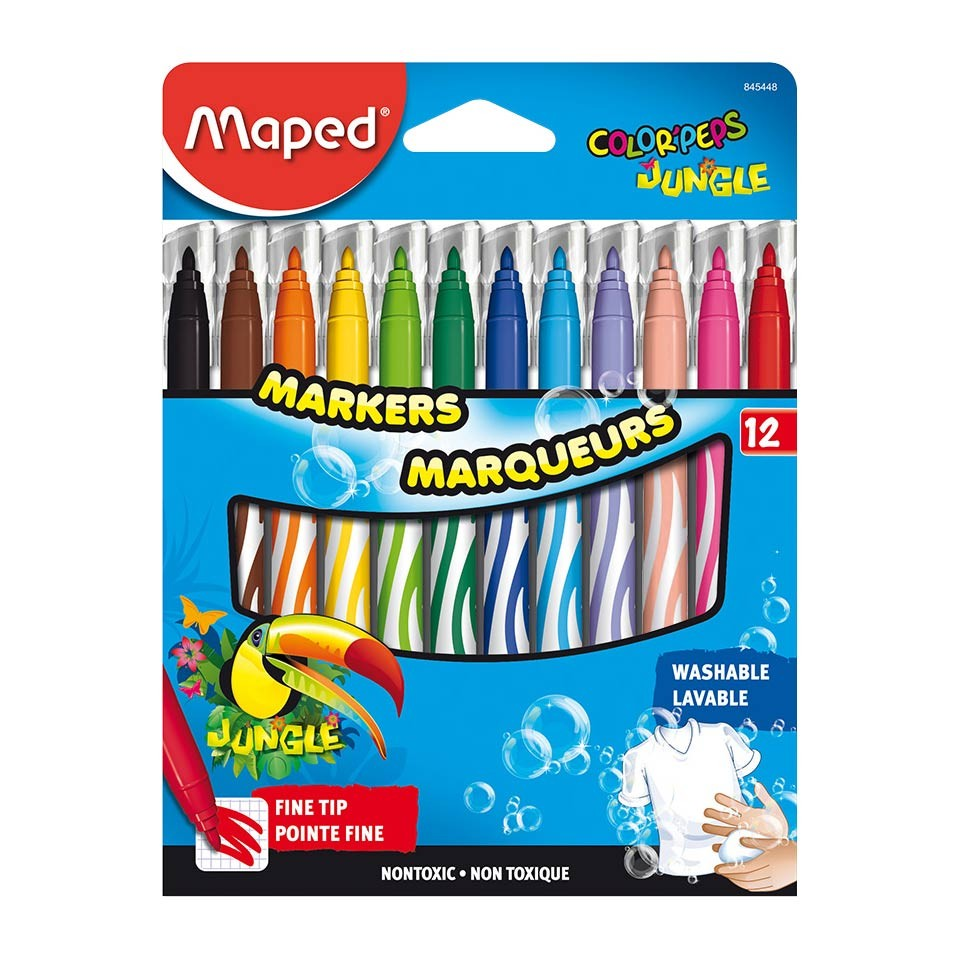 Colored Washable Markers Fine Tip Assorted Colors Pack Of 12