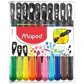 Markers With Clip-On Mini Stencils, Assorted Colors, Pack of 10