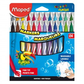 Colored Washable Markers, Fine Tip, Assorted Colors, Pack of 24