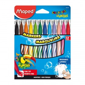 Colored Washable Markers, Fine Tip, Assorted Colors, Pack of 12